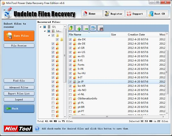 we can see many deleted files in this interface check the ones that will be recovered and click save files to recover