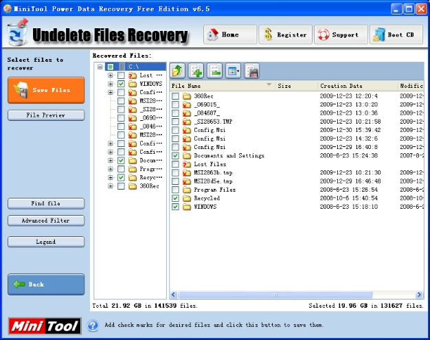 Undelete Recovery module on Windows file recovery software helps ...